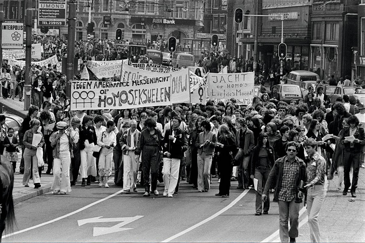 The first gay liberation march in Amsterdam, 1977