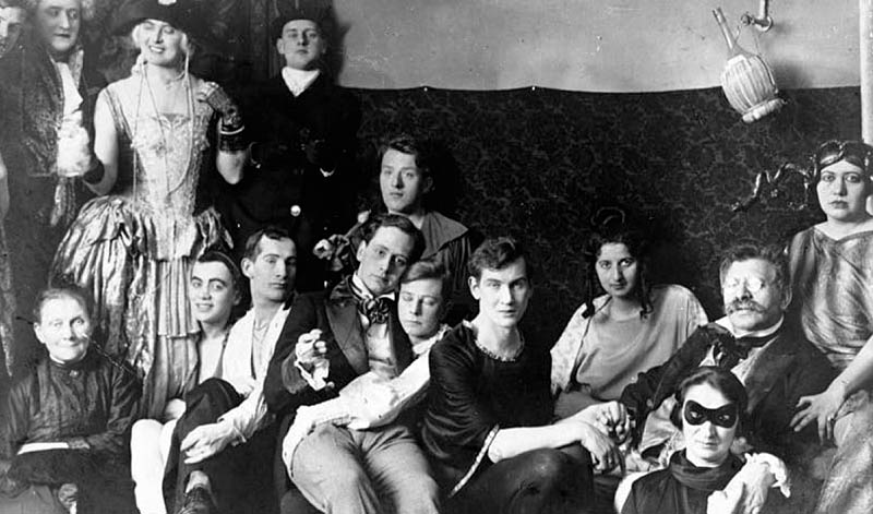 A party at the Institute for Sexual Science with Magnus Hirschfeld, the one with the moustache and glasses (second from right)