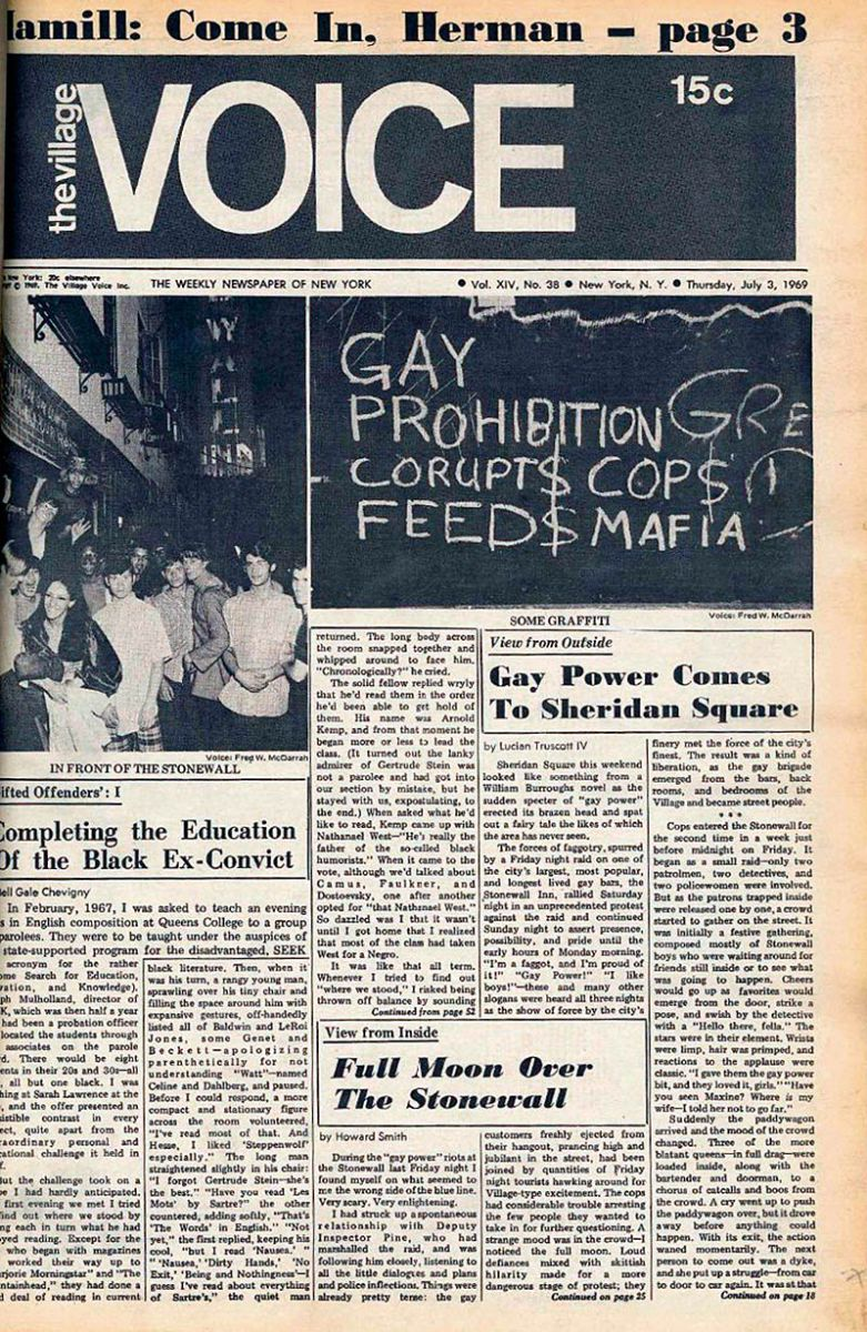 3 juli 1969 (artikel nu herdrukt in de The Stonewall Reader)